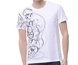 コピー ブランド_メンズ新作アレキサンダー マックイーン alexandermcqueenスカルSKULLプリントクルーネックネック半袖Tシャツ オーガニックコットン ホワイト453145QIZP40900