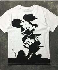 コピー 品 ブランド_アレキサンダー マックイーン tシャツ alexandermcqueen ミッキープリントクルーネックネックメンズ 半袖Tシャツ ホワイトコットン