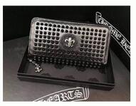 品質保証 フィリグリーCHROME HEARTS クロムハーツ 財布 ブラック長財布 スバイクロゴ レザー ファスナー