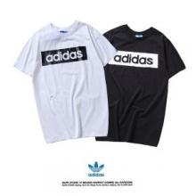 2018春夏人気セール安いadidasアディダス tシャツボックスロゴプリントクルーネック半袖カットソー2色可選
