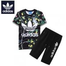 人気セール高品質adidasアディダス 通販セットアップメンズプリント半袖Tシャツハーフパンツ上下 5色可選