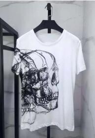 ブランド コピー ショップ_メンズ 半袖Tシャツアレキサンダー マックイーン tシャツ alexandermcqueen コピー ブランド スカルクルーネックネック ホワイトブラック