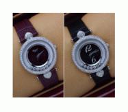 品質保証大人気CHOPARD ショパール ハッピー ダイヤモンド クォーツ レディース かわいい レザーベルト 腕時計 2色可選