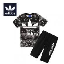2018春夏人気定番低価adidasアディダス 通販メンズレディース総柄Tシャツ半袖セットアップ上下パンツ2色可選