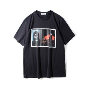 ブランド コピー バック_ジバンシー スーパー コピーGIVENCHY PRINTED T-SHIRTSプリントTシャツ丸首黒ブラックトップス春夏品質保証得価